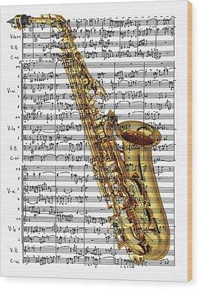 The Saxophone Wood Print by Ron Davidson
