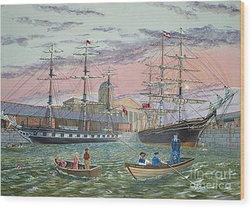 Wood Print featuring the painting The Scamps Of Canning Dock by Anthony Lyon