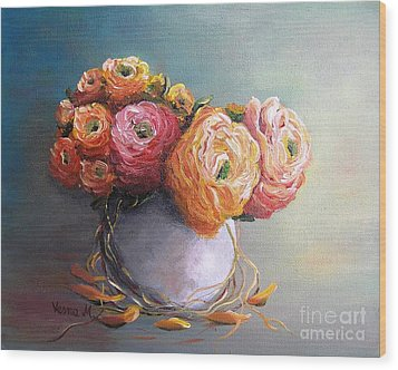 Wood Print featuring the painting The Scent Of Flowers by Vesna Martinjak