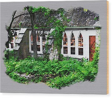 Wood Print featuring the digital art The Schoolhouse At The Clearing - Ellison Bay - Door County Wisconsin by David Blank