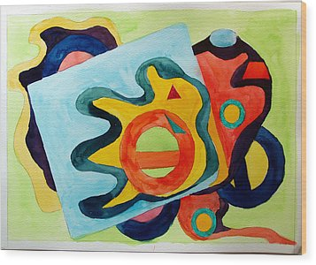 Wood Print featuring the painting The Science Of Shapes 3 by Esther Newman-Cohen