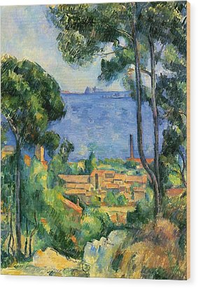 The Sea At The Estaque Wood Print by Paul Cezanne