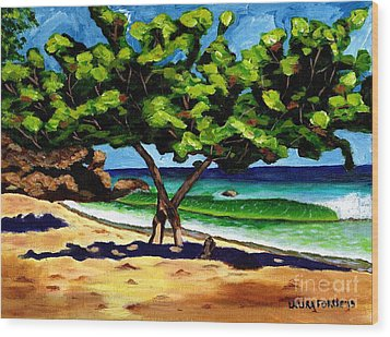 Wood Print featuring the painting The Sea-grape Tree by Laura Forde