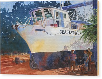 Wood Print featuring the painting The Sea Hawk In Drydock by Roger Rockefeller