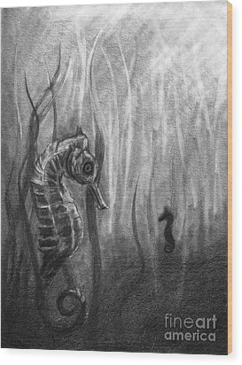 Wood Print featuring the drawing The Sea Spell by J Ferwerda
