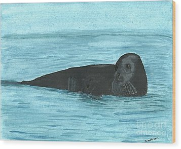 Wood Print featuring the painting The Seal by Tracey Williams