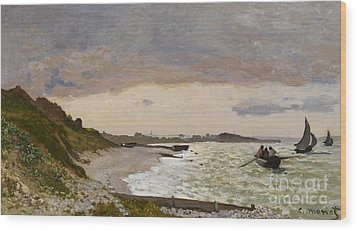 The Seashore At Sainte Adresse Wood Print by Claude Monet