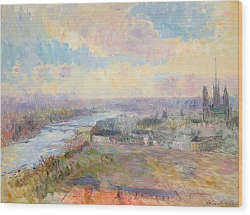 The Seine At Rouen Wood Print by Albert Charles Lebourg