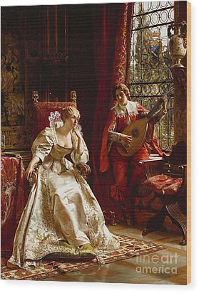 The Serenade Wood Print by Joseph Frederick Charles Soulacroix