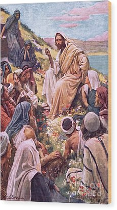 The Sermon On The Mount Wood Print by Harold Copping