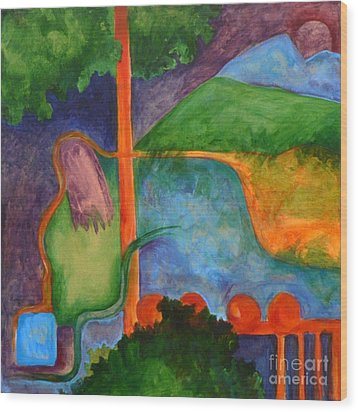 The Setting- Caprian Beauty Series 2 Wood Print by Elizabeth Fontaine-Barr