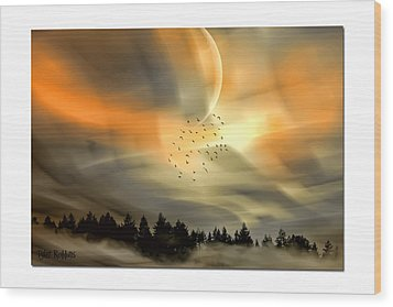 Wood Print featuring the mixed media The Setting Sun Over The Rising Mist by Tyler Robbins