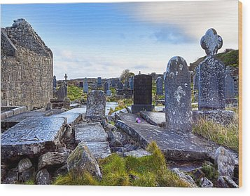 The Seven Churches Ruins On Inis Mor Wood Print by Mark E Tisdale