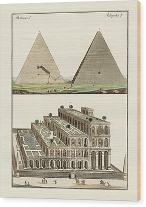 The Seven Wonders Of The World Wood Print by Splendid Art Prints