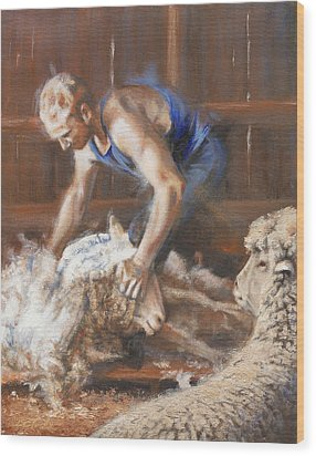 The Shearing Wood Print by Mia DeLode