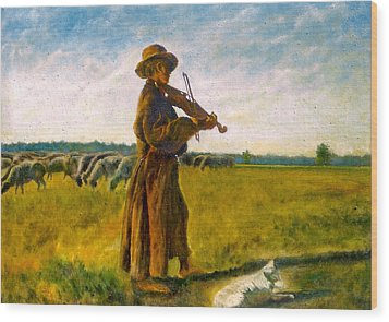Wood Print featuring the painting The Shepherd by Henryk Gorecki