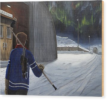 The Shinny Player Wood Print by Dave Rheaume