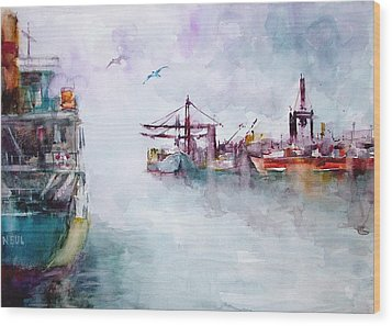 Wood Print featuring the painting The Ship At Harbor Entrance by Faruk Koksal