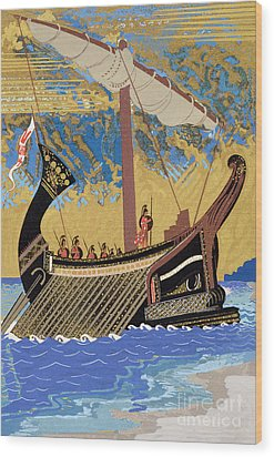 The Ship Of Odysseus Wood Print by Francois-Louis Schmied
