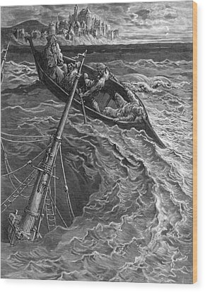 The Ship Sinks But The Mariner Is Rescued By The Pilot And Hermit Wood Print by Gustave Dore