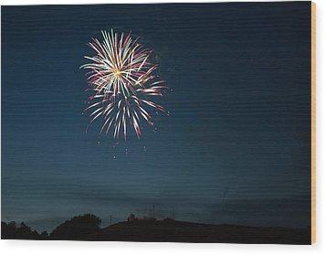 West Virginia Day Fireworks Show Begins Wood Print by Howard Tenke