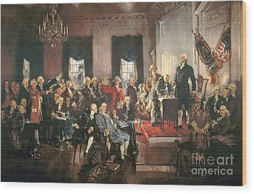 The Signing Of The Constitution Of The United States In 1787 Wood Print by Howard Chandler Christy