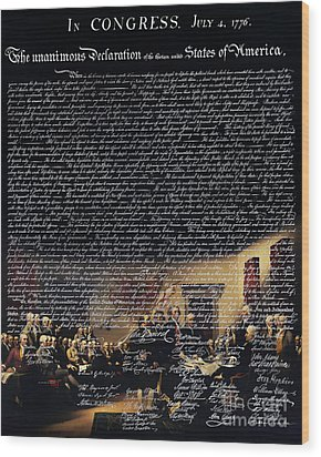 The Signing Of The United States Declaration Of Independence V2 Wood Print by Wingsdomain Art and Photography
