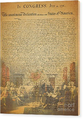 The Signing Of The United States Declaration Of Independence Wood Print by Wingsdomain Art and Photography