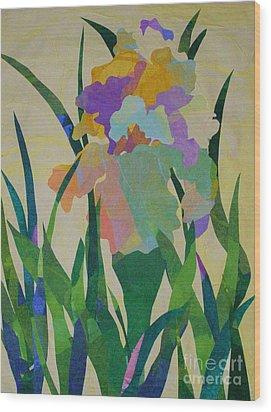 The Single Iris Wood Print
