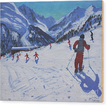 The Ski Instructor Wood Print by Andrew Macara