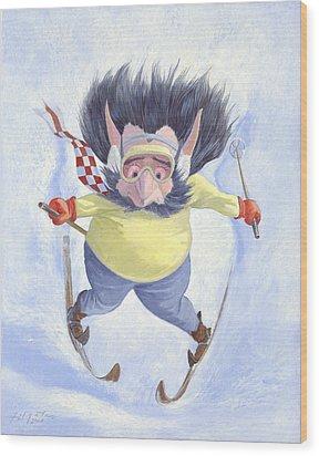 The Skier Wood Print by Leonard Filgate