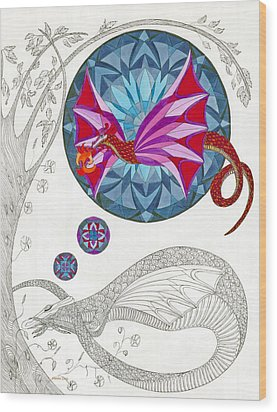 Wood Print featuring the drawing The Sleeping Dragon by Dianne Levy