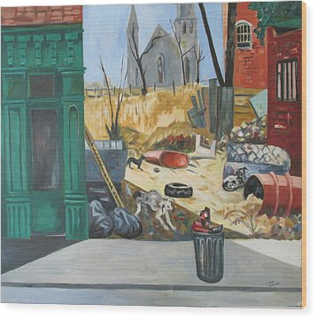 Wood Print featuring the painting The Slum Dogs by Linda Novick