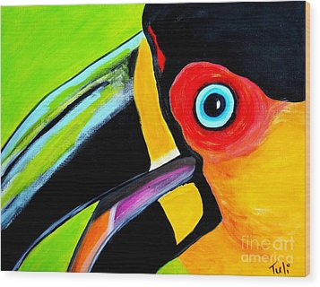 The Smiling Toucan Wood Print by Claudia Tuli