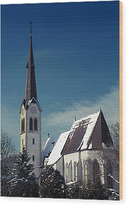 The Snow And The Church Wood Print by Antonio Castillo