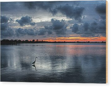 Wood Print featuring the photograph The Solitary Fisherman - Florida Sunset by HH Photography of Florida