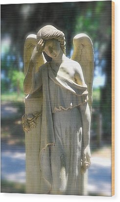The Sorrow Of An Angel Wood Print by Kathy Gibbons