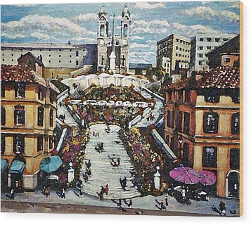 Wood Print featuring the painting The Spanish Steps by Rita Brown