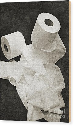 The Spare Rolls 1 - Toilet Paper - Bathroom Design - Restroom - Powder Room Wood Print by Andee Design