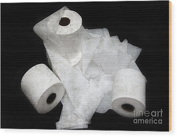 The Spare Rolls 3 - Toilet Paper - Bathroom Design - Restroom - Powder Room Wood Print by Andee Design