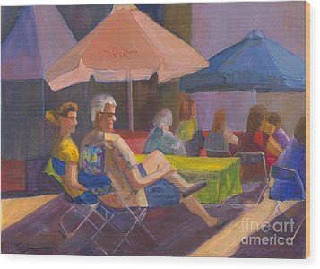 Wood Print featuring the painting The Spectators by Sandy Linden