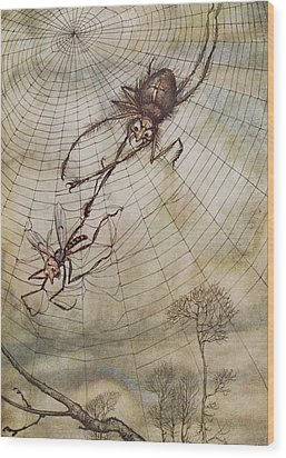 The Spider And The Fly Wood Print by Arthur Rackham
