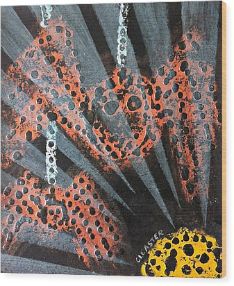 The Spider And The Sun Son Wood Print by Cleaster Cotton