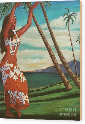 The Spirit Of Hula Wood Print by Janet McDonald