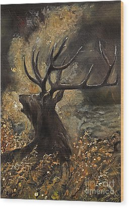 the Stag sitting in the grass oil painting Wood Print by Angel  Tarantella