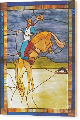 The Stained Glass Cowboy Riding Out The Bucks Wood Print by Patricia Keller