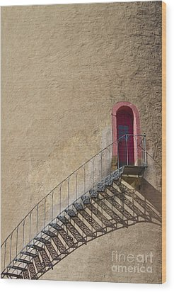 The Staircase To The Red Door Wood Print by Heiko Koehrer-Wagner