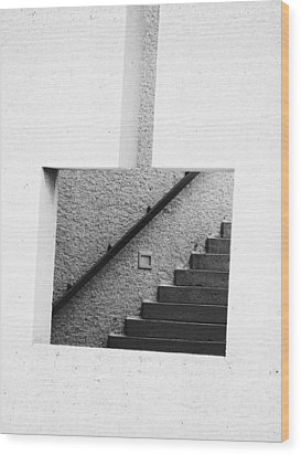 The Stairs In The Square Wood Print