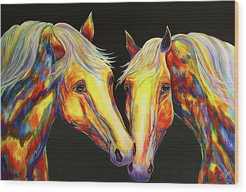 The Stallion Kiss Paint Horses Wood Print by Jennifer Godshalk