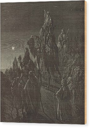 The Star In The East Wood Print by Antique Engravings